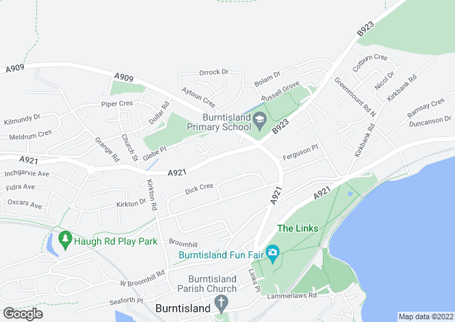Map for Aberdour Road, BURNTISLAND, Fife