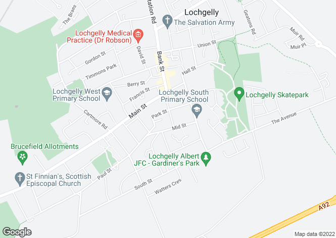 Map for Church Street <br> Lochgelly, Fife