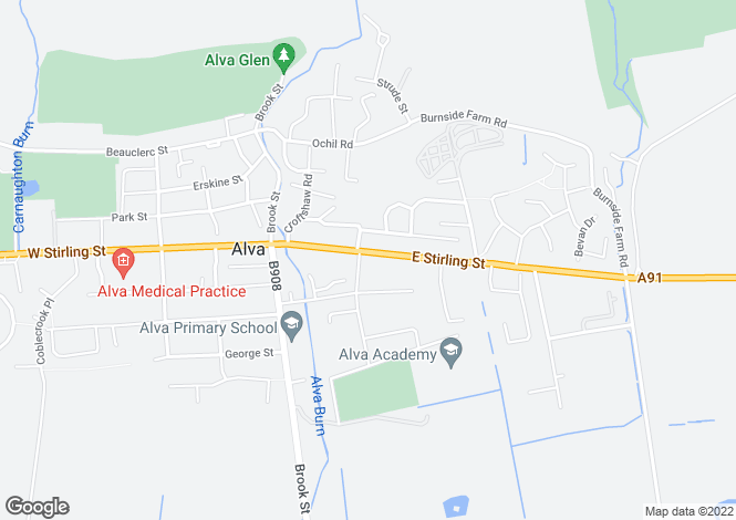 Map for East Stirling Street, Alva