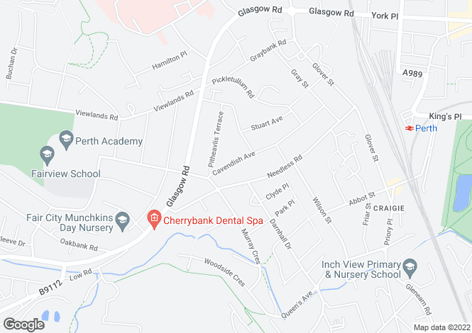 Map for 72 Cavendish Avenue, Craigie, PERTH, Perthshire