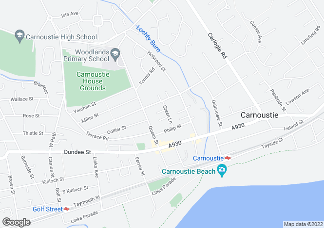 Map for Green Lane, Carnoustie
