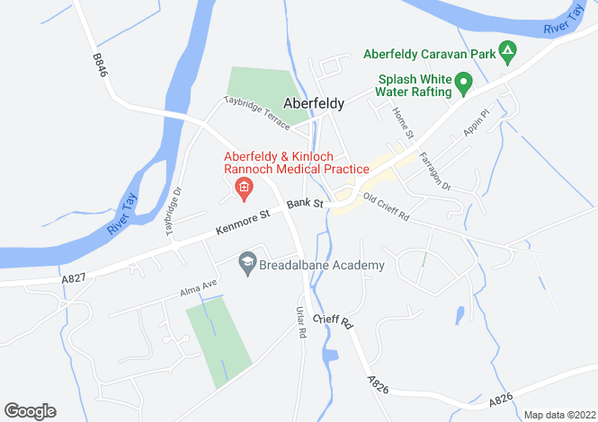 Map for Apartment 4, Crown Building, 8-10 Bank Street, Aberfeldy, Perthshire, PH15 2BB