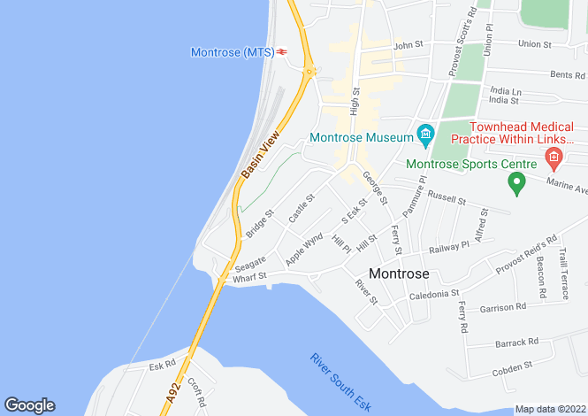 Map for Castle Street, Montrose