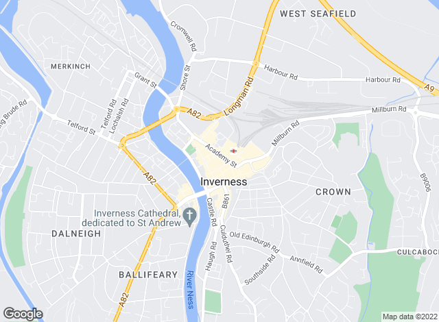 Map for Scottish property centre, Inverness