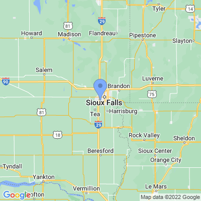 Map of truck driving jobs in Sioux Falls, South Dakota