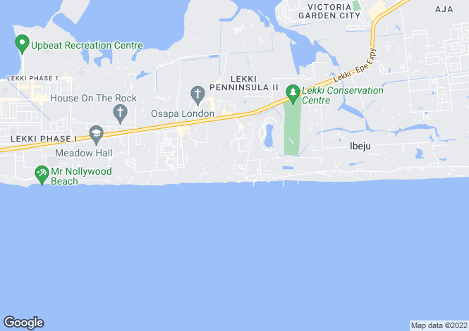 Map for Lekki Peninsula, Lagos