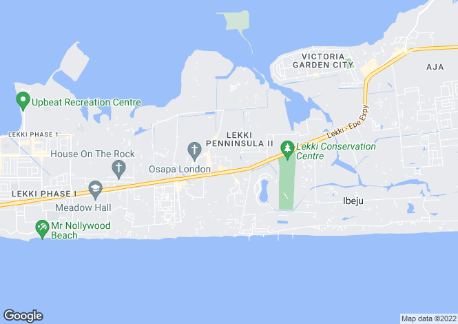 Map for Lagos, Lekki Peninsula