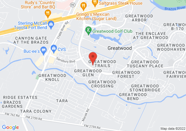 Map of 7225 Greatwood Parkway, Sugar Land, TX 77479, United States