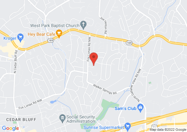 Map of 8740 Fox Lonas Road Northwest, Knoxville, TN, USA