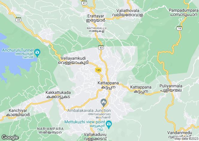 Map for Idukki, Kerala