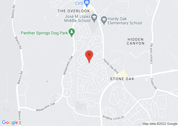 Map of 919 Amberstone Dr, San Antonio, TX 78258, USA