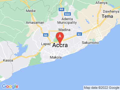 map of Accra, Ghana