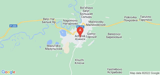 map of Achinsk, Russia