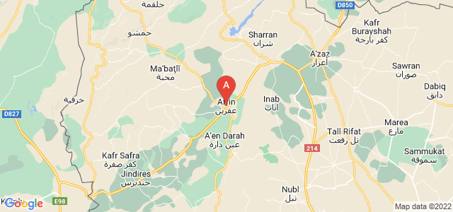map of Afrin, Syria