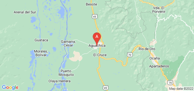 map of Aguachica, Colombia