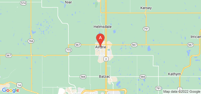 map of Airdrie, Canada