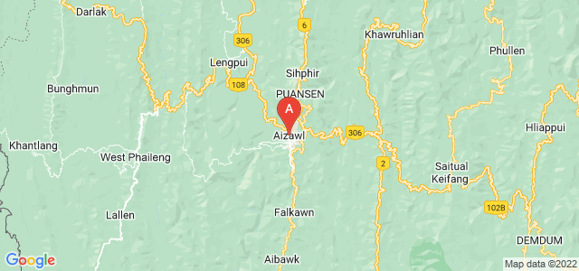 map of Aizawl, India