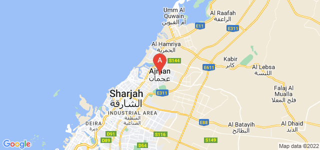 map of Ajman, United Arab Emirates