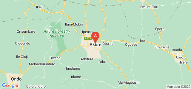 map of Akure, Nigeria