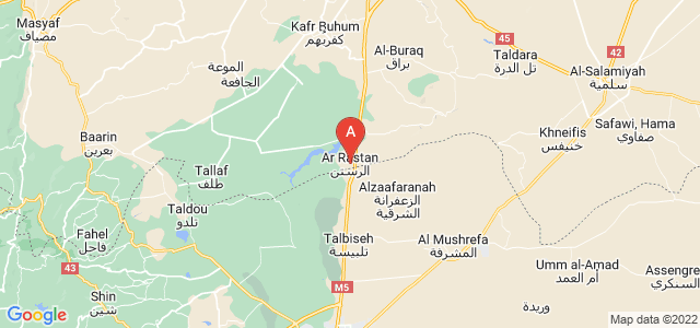 map of Al-Rastan, Syria