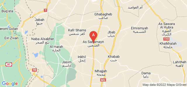 map of Al-Sanamayn, Syria