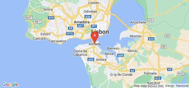 map of Almada, Portugal