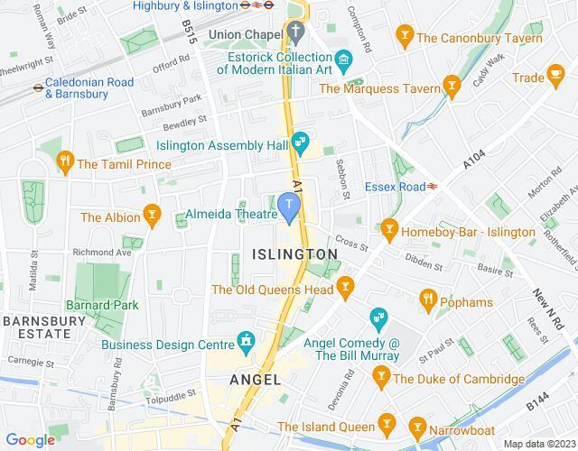 Location map for Almeida Theatre