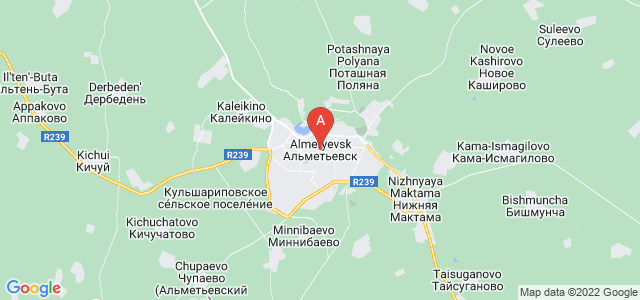 map of Almetyevsk, Russia