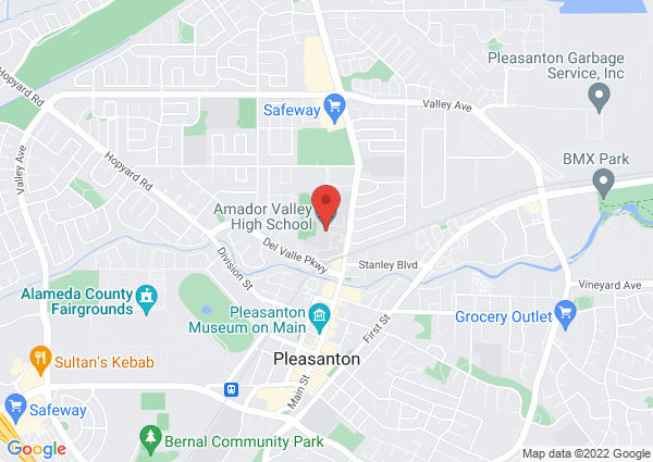 Map of Amador Valley High School, Santa Rita Road, Pleasanton, CA, USA