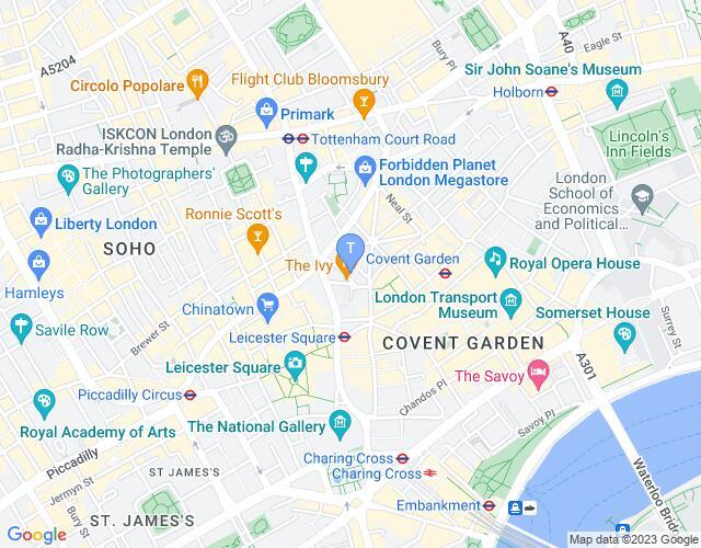 Location map for Ambassadors Theatre