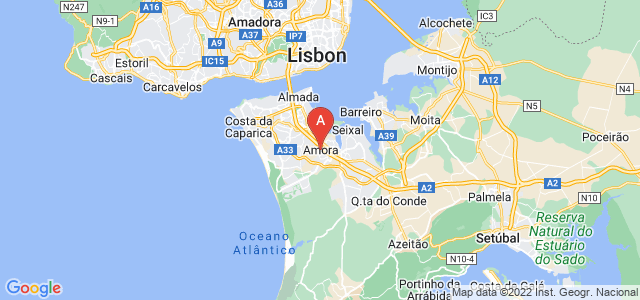 map of Amora, Portugal