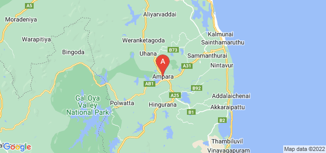 map of Ampara, Sri Lanka