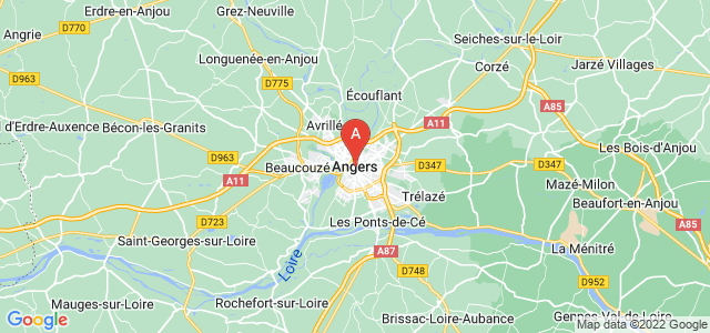 map of Angers, France
