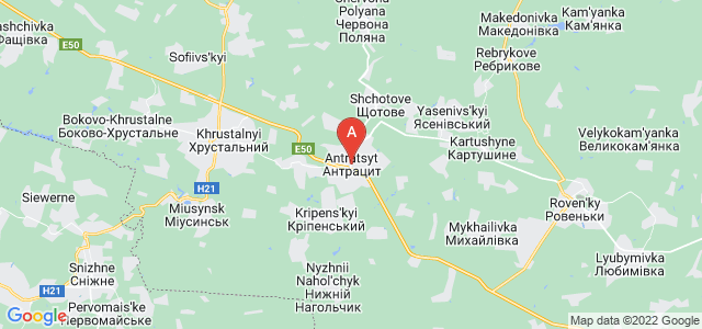 map of Antratsyt, Ukraine
