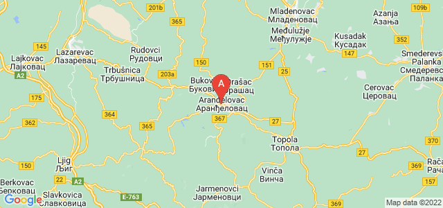 map of Aranđelovac, Serbia