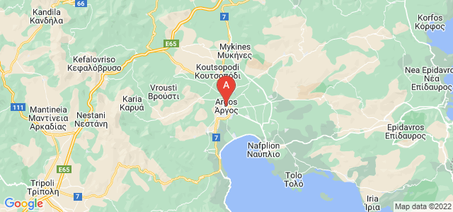 map of Argos, Greece