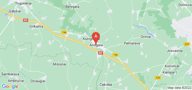 map of Ariogala, Lithuania