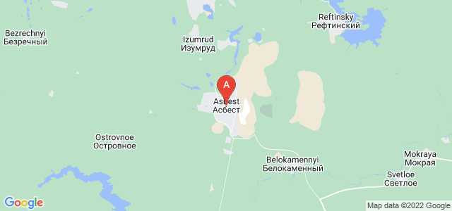 map of Asbest, Russia