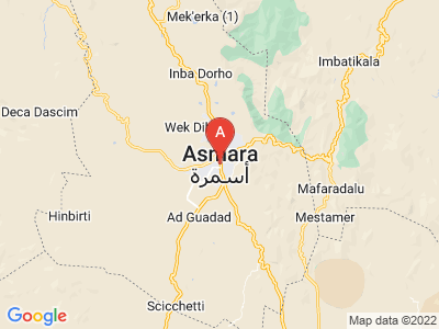 map of Asmara, Eritrea