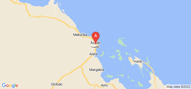 map of Assab, Eritrea
