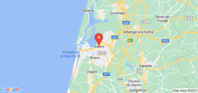 map of Aveiro, Portugal