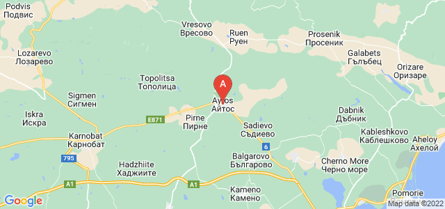 map of Aytos, Bulgaria