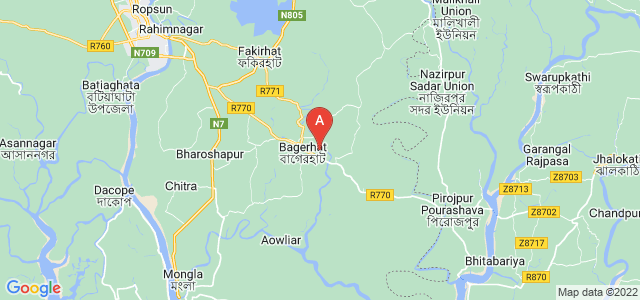 map of Bagherhat, Bangladesh