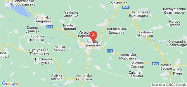 map of Balakliia, Ukraine