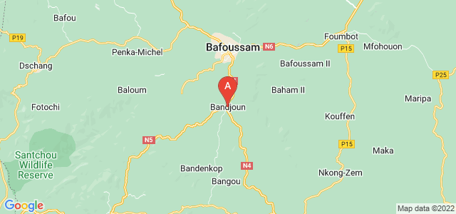 map of Bandjoun, Cameroon