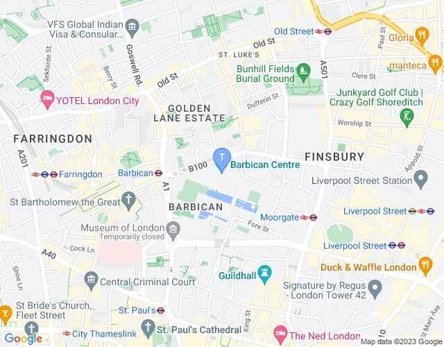 Location map for Barbican Theatre
