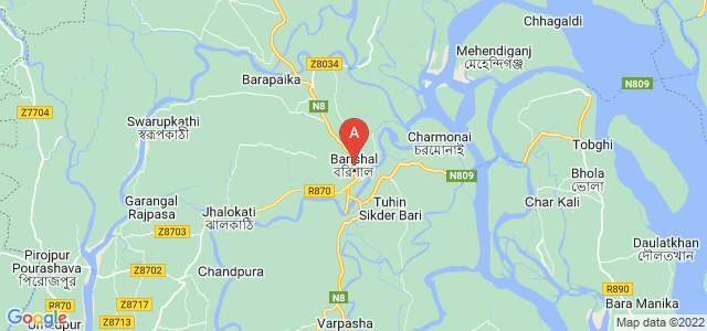 map of Barisal, Bangladesh