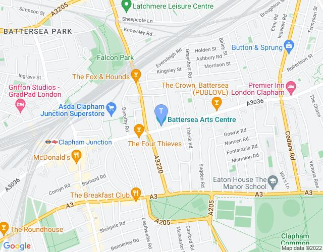 Location map for Battersea Arts Centre