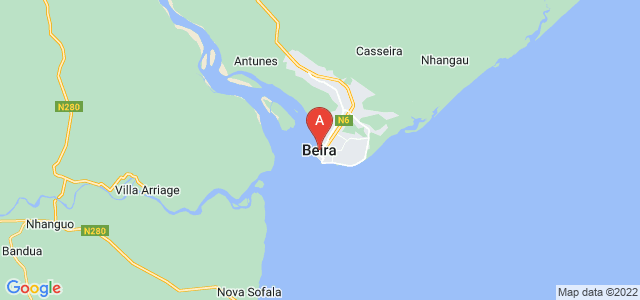 map of Beira, Mozambique