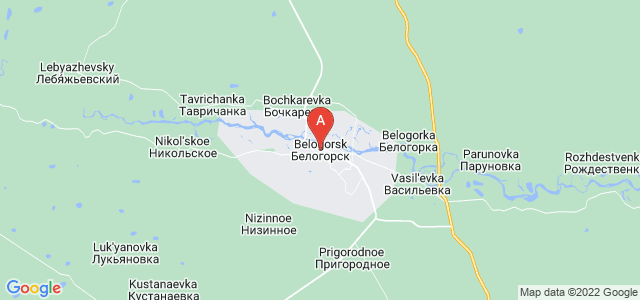 map of Belogorsk, Russia